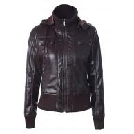 CORAFRITZ Damen Reißverschluss Langarm Jacke PU Leder Stehkragen Mantel Warm Winter Outwear mit Abnehmbarer Kapuze Overcoat Bekleidung