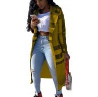 Damen-Mantel mit Karomuster langärmelig Seitentaschen Outwear Kerbkragen Oberteil leger Maxi-Cardigan Bekleidung