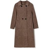 Damen Wollmantel Winter Casual Langer Trenchcoat Warmer bequemer Mantel Damen Revers Langarm Zweireiher Outwear Brown-M Bekleidung