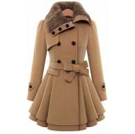 EMMA Damen Winter Fashion Duffle Mantel mit Pelzkragen Faux Fur Reverskragen Zweireiher Knopf Dick Wolle Gefaltet Saum Trench Mantel Kleid Jacke mit Gürtel. Bekleidung