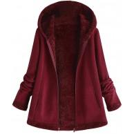 iHENGH Damen Herbst Winter Bequem Mantel Lässig Mode Jacke Frauenmode Winter Tasche Reißverschluss Langarm Plüsch Hoodie Mantel Bekleidung