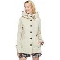 khujo Damen Jacke NUYDED2 Übergangsjacke aus Baumwolle mit Kunstlederpaspeln und großer Kapuze Bekleidung
