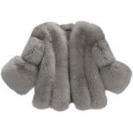 Lulupi Damen Faux Pelz Jacke Kurze Elegant Pelzmantel Winter Herbst Kunstpelz Kunstfell Warm Plüschjacke Winterjacke Mantel Coat S-4XL Bekleidung