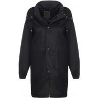 Malito Damen Kurz-Mantel mit Kapuze   lässige Übergangsjacke   Oversize Parka - Jacke JF1851 schwarz M Bekleidung