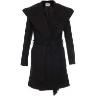 Mattire Damen Mantel mit Bindegürtel Frühling Elegant Lang aus Wolle Oversize mit Kapuze Bekleidung