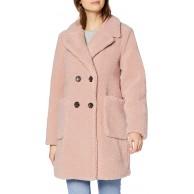 New Look Damen Op Aw19 Bella Li Borg Coat s12 Mantel Beige Nude 72 38 Herstellergröße 12 Bekleidung
