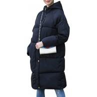 Petalum Damen Elegant Lange Daunenmantel Winterjacke mit Kapuze Frauen Puffer Jaket Jacke Groß Warme Hooded Down Steppjacke Bekleidung