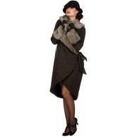 shoperama Eleganter 20er Jahre Damen Mantel mit Pelz Fell-Imitat Flapper Charleston Kostüm-Zubehör Roaring Twenties 20's Größe42 Bekleidung