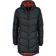Sublevel Damen Stepp-Mantel mit Kapuze lang & tailliert Bekleidung